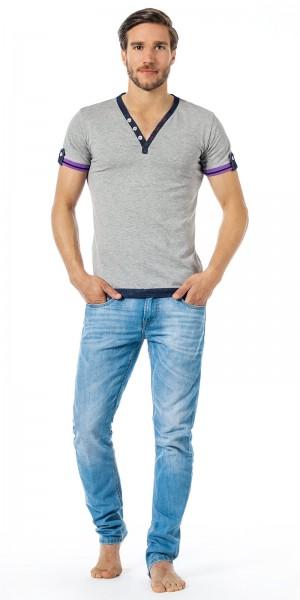 Xuba Shirt für Herren 1/2 Arm Baumwolle in grau
