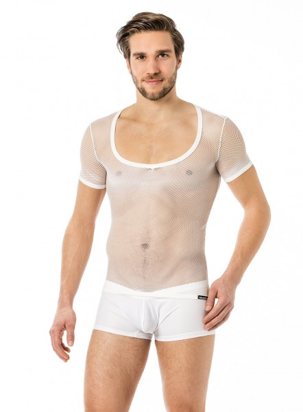Manview Herren Shirt 1/2 Arm transparent weiß