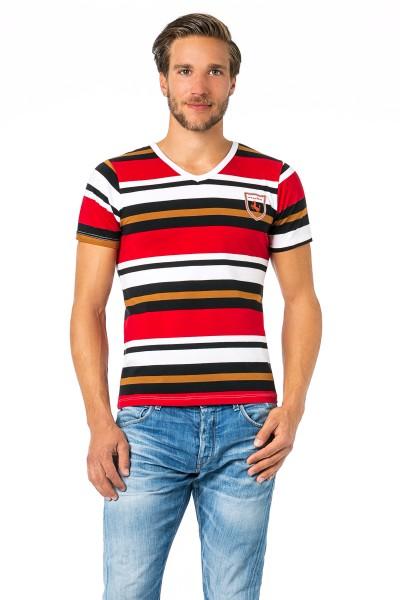 Manview Herren Shirt mit halbem Arm gestreift