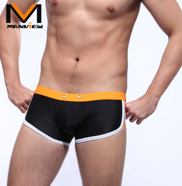 Manview Herren Badehose schwarz/orange