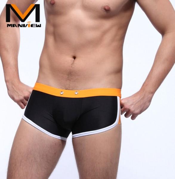 Manview Herren Badehose schwarz/orange