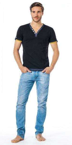 Xuba Shirt für Herren 1/2 Arm Baumwolle in schwarz