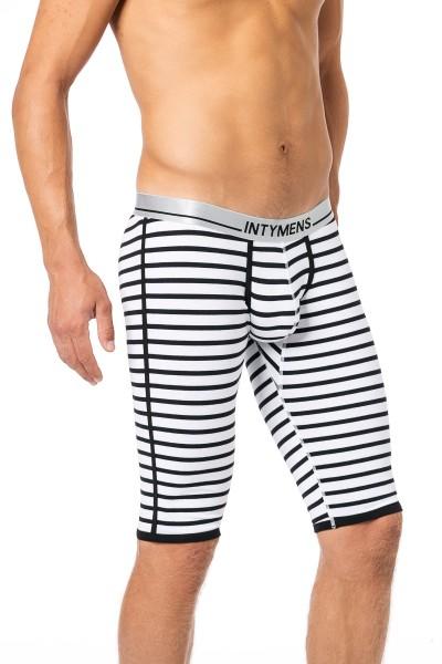 Men Body 3/4 lange Unterhose weiss/schwarz gestreift
